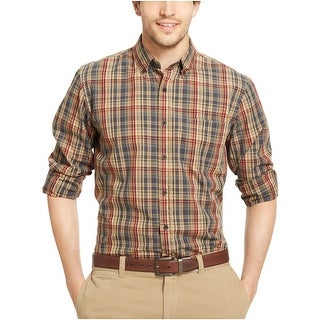 G.H. Bass and Co. Rock River Textured Plaid Shirt Small S Brown and Grey