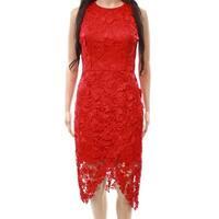 Betsy & Adam Red Women's Size 2 Floral Crochet Sheath Dress