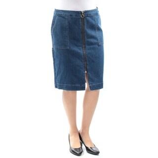 Womens Blue Knee Length Pencil Skirt Petites Size 6