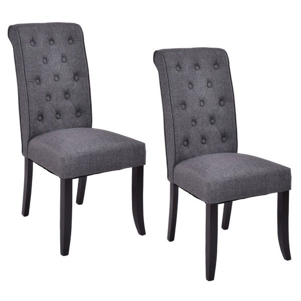 kitchen accent furniture shop costway set of 2 dining chairs fabric upholstered tufted armless accent home kitchen free 8329