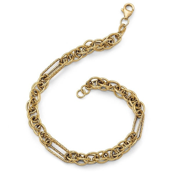 Italian 14k Yellow Gold Link Bracelet - 7.5 inches
