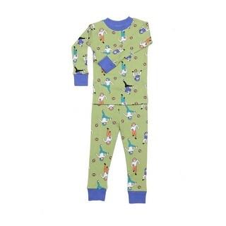 New Jammies Boys Green Football Tough Cotton 2 Pc Sleepwear Set 8-12
