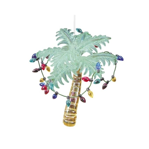 "4.25"" Beach Party Glass Palm Tree Wrapped in a Light Strand Christmas Ornament"