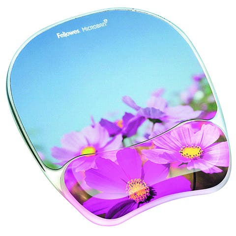 Fellowes Inc. 9179001 Fellowes Photo Gel Mouse Pad Wrist Rest with Microban Protection - Pink Flower - 0.9 x 9.3 x