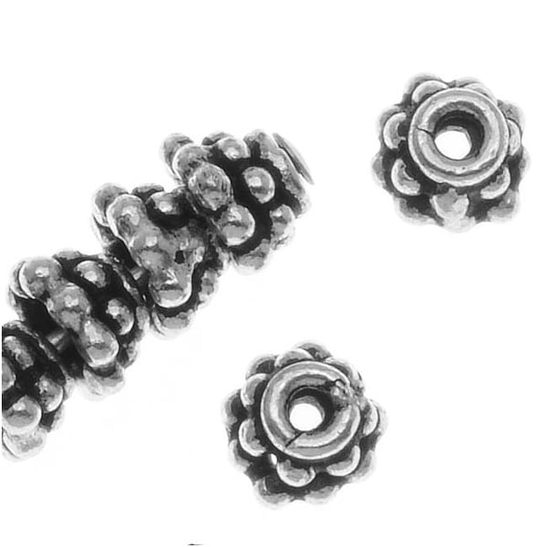 Bali Sterling Silver Double Daisy Bead Caps 4.5 x 3mm (10)