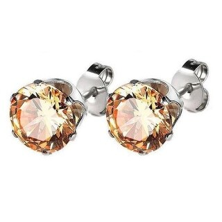 Champagne Solitaire Earrings Round Cut Cubic Zirconia Mens Womens CZ Studs 3mm