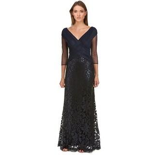 Tadashi Shoji Petite Sequined Woven 3/4 Sleeve Evening Gown Dress