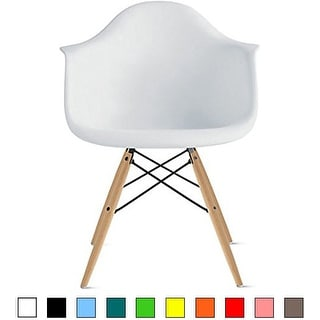 2xhome White Eames Dining Room Arm Chair With Natural Wood Eiffel Style Legs