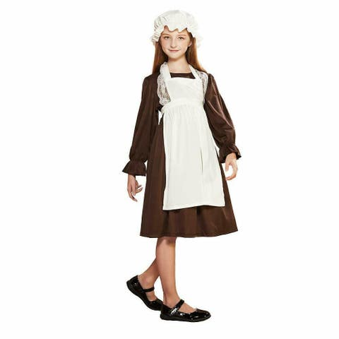 Eraspooky Girl's Pioneer Dress Colonial Girl Pilgrim Costume Victorian Prairie Apron Dress