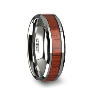 THORSTEN - NARRA Tungsten Wood Ring with Polished Bevels and Padauk Real Wood Inlay - 6mm
