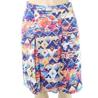 Nomadic Traders NEW Blue Tribal Print Medium PM Petite Pleated Skirt