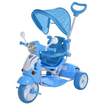 Qaba Children Ride-On Moped Tricycle with a Stylish Design & Interactive Music & Lighting Functions Blue