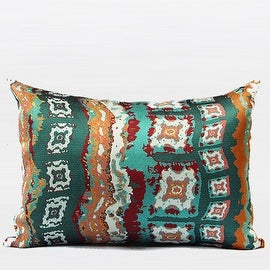 "G Home Collection Luxury Green Tribe Pattern Jacquard Pillow 14""X20"""