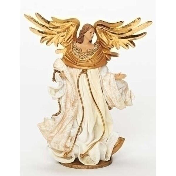 "10"" Have Faith Fabric Mache Elegant Off-White Religious Angel Christmas Figure - GOLD"