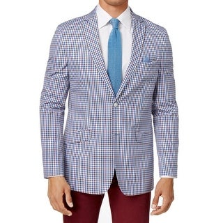 Tallia Men Slim Fit Gingham Checker Two Button Jacket