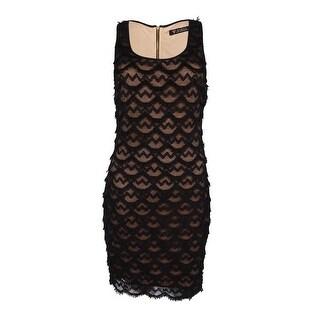 Guess LA Women's Fringe Scoop Neck Dress (4, Nude/Black) - 4
