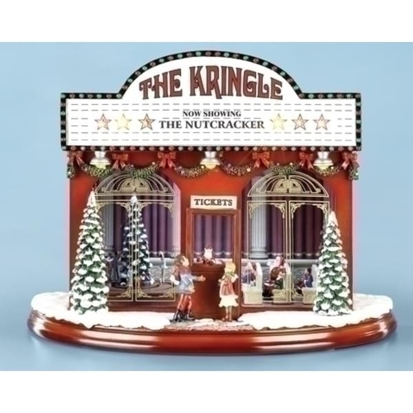 "12.75"" Amusements Lighted and Animated Musical Kringle Theatre Christmas Decor - RED"