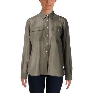 Lauren Ralph Lauren Womens Button-Down Top Silk Blend Long Sleeves