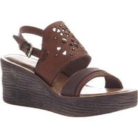 OTBT Women's Hippie Wedge Sandal Oak Leather
