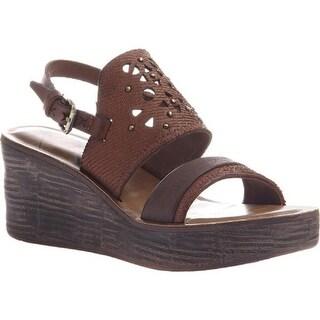OTBT Women's Hippie Wedge Sandal Oak Leather