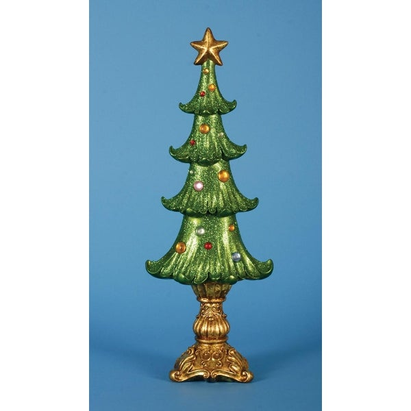 """Pack of 2 Ornate Shimmering Glittered Table Top Christmas Tree Decorations 20"""""""