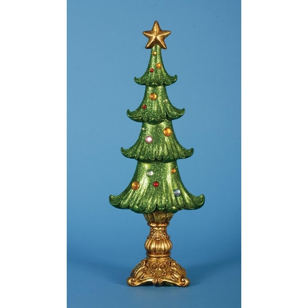 """Pack of 2 Ornate Shimmering Glittered Table Top Christmas Tree Decorations 20"""" - green"""