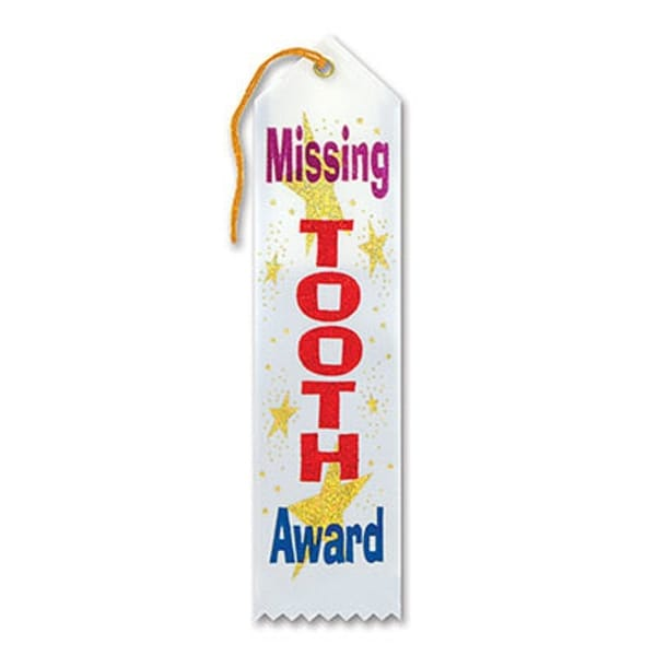 "Pack of 6 White ""Missing Tooth Award"" School Award Ribbon Bookmarks 8"" - N/A"