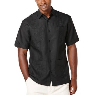 Cubavera Big and Tall Embroidered Front Short Sleeve Shirt Jet Black XLT Tall