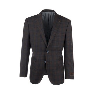Dolcetto Brown with Midnight Windowpane Modern Fit, Pure Wool Jacket by Tiglio Luxe 74262/7