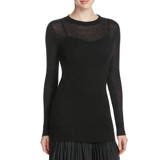 DKNY Womens Petites Pullover Top Ribbed Long Sleeves