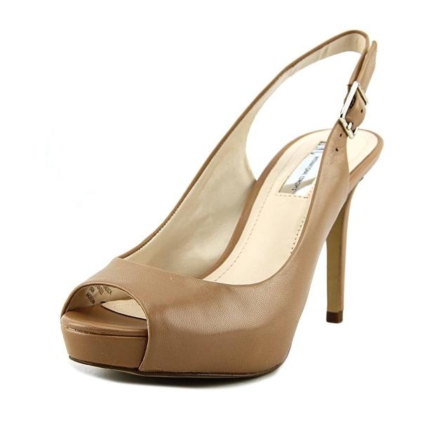 INC International Concepts Gilastan Women Peep-Toe Leather Tan Slingback Heel