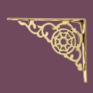 Pair Shelf Bracket Bright Solid Brass 6 1/8