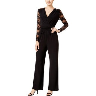 Tahari Womens Jumpsuit Lace Inset Surplice Neck