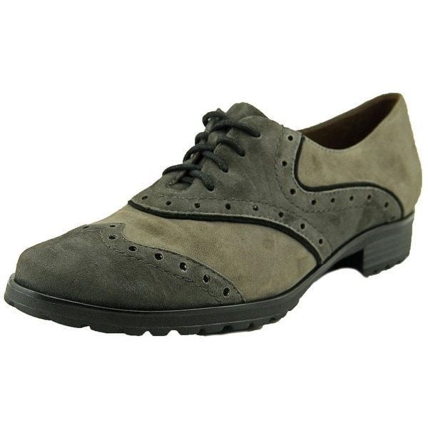 Earthies Berlin Women Round Toe Suede Gray Oxford