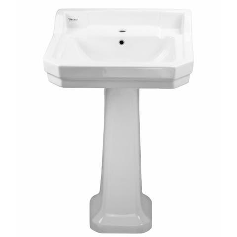 "Whitehaus B112M-P China Series 21-1/2"" Pedestal Bathroom Sink with 1 - White"