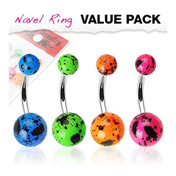 4 Pcs Pack of Blue, Green, Orange, and Pink Color 'Splat' Flourescent UV Navel Belly Button Ring