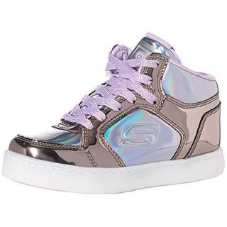 Skechers Kids Girls' Energy Lights-10943L Sneaker,Gunmetal/Purple, Little Kid