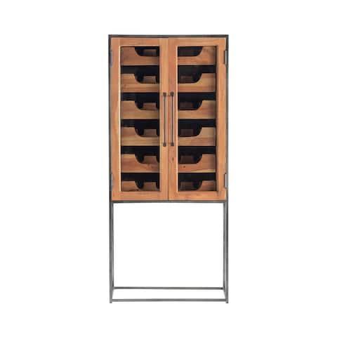 "Elevated 59""H Glass, Acacia Wood & Black Metal Wine Cabinet - 60'' H x 27'' L x 14'' D"