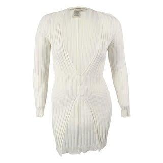 Studio M Women's Long Sleeves Rib Knit Cardigan Sweater - l