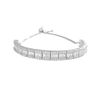 Sterling Silver Baguette & Micro Pave Tennis Bracelet Dipped In Platinum