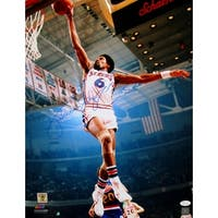 Julius Erving Signed Philadelphia 76ers 16x20 Dunk Photo JSA