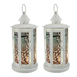 2 Piece Seashell White Beach Theme Metal LED Candle Lantern Set