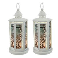 2 Piece Seashell White Beach Theme Metal LED Candle Lantern Set