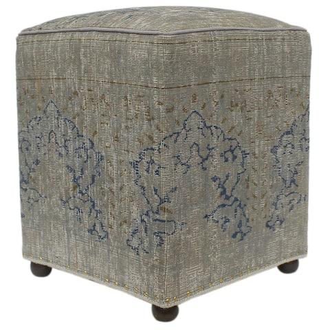 Vintage Distressed Antique Luke Handmade Wool Rug Upholstered Ottoman