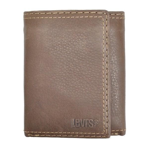 Levis Men's Leather Interior Zipper Slim Trifold Wallet - One size