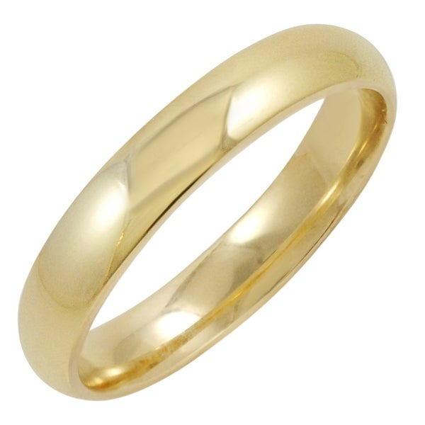 Men's 10K Yellow Gold 4MM Comfort Fit Plain Wedding Band (Available Ring Sizes 8-12 1/2)