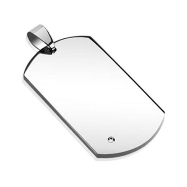 Single Corner Round Gem Paved Stainless Steel Dog Tag (25 mm Width)