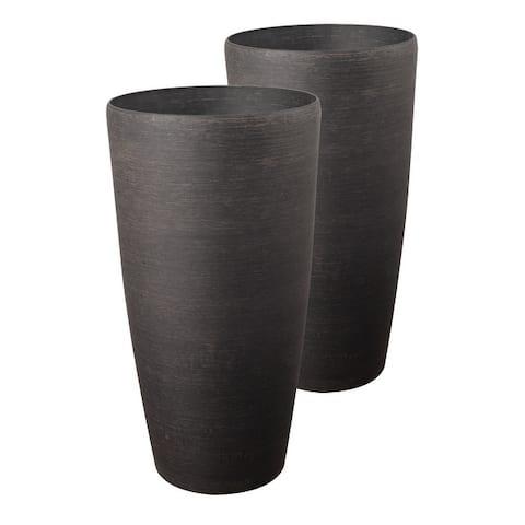 Vervain 2 Piece Round Planter Set - Brown