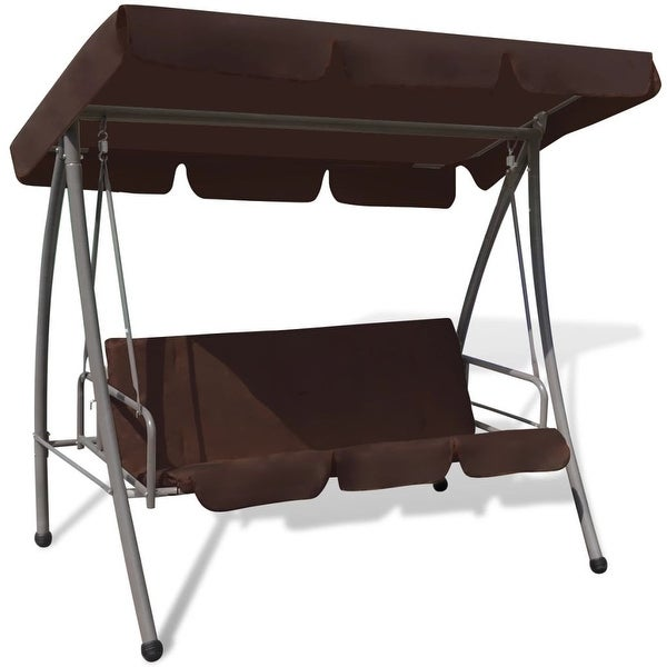 vidaXL Outdoor Swing Chair w/ Canopy Coffee Garden Porch Deck Seat Hammock