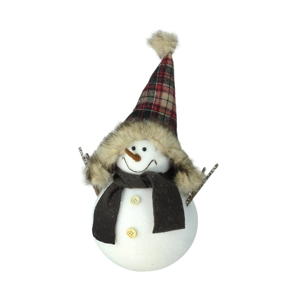 """13"""" Decorative Portly Snowman in Plaid Trapper Hat Christmas Tabletop Decoration"""